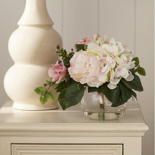 Ophelia Co Myrte Faux Mixed Rose Hydrangea In Glass Vase