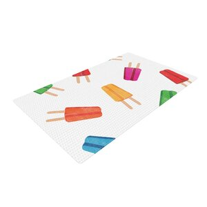 Raining Popsicle Digital White/Red Area Rug