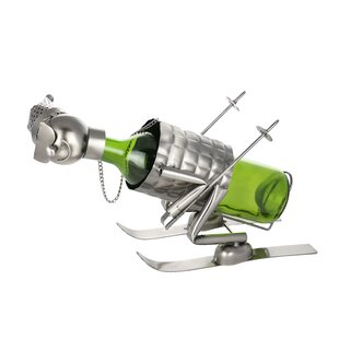 Down Slope Skier Metal Funny Kitchen Holder 1 Bottle Tabletop Wine Rack