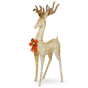 Pre-Lit Crystal Champagne Standing Buck Lighted Display