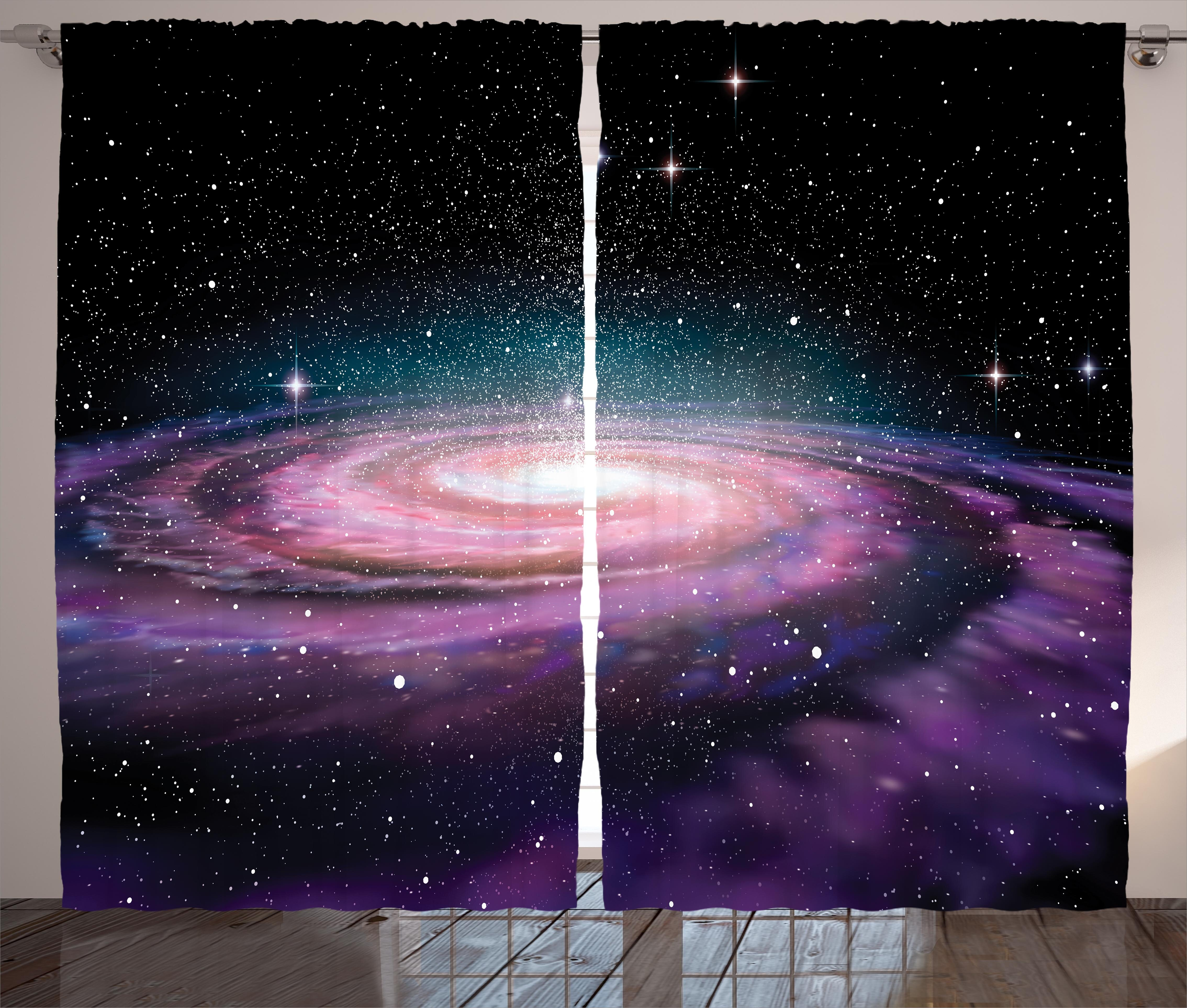 Odalys Galaxy Spiral Galaxy in Outer Space Andromeda Nebula Star Dust Universe Astronomy Print Graphic Print & Text Semi-Sheer Rod Pocket Curtain Panels