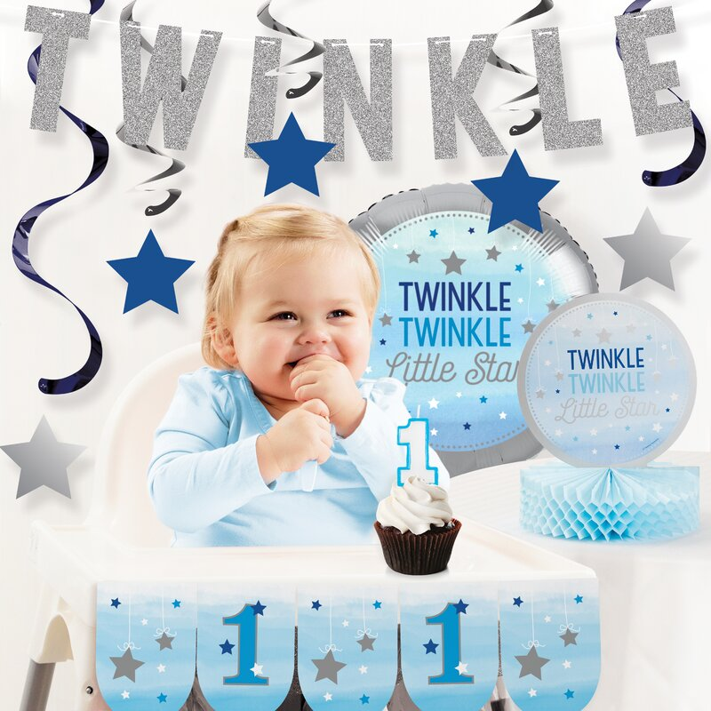 One Little Star Boy First Birthday Party Decoration Kit