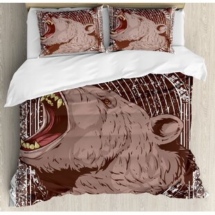 Animal Ilration Of The Growling Grizzly Bear Head With Sharp Teeth Print Duvet Cover Set