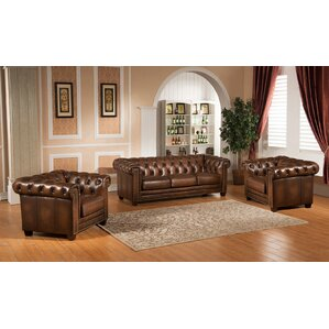 Hickory 3 Piece Leather Living Room Set by A..