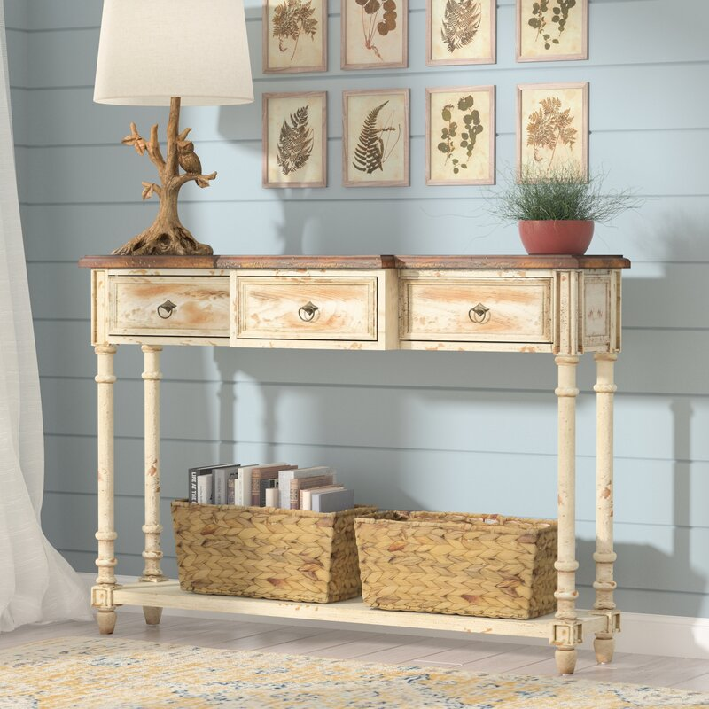 August Grove Preusser 3 Drawer Console Table Amp Reviews