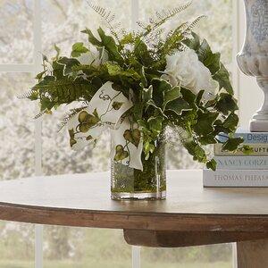 Faux English Ivy & Hydrangea Centerpiece in Decorative Vase