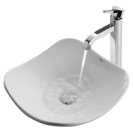 Ceramic Ceramic Specialty Vessel Bathroom Sink with Faucet