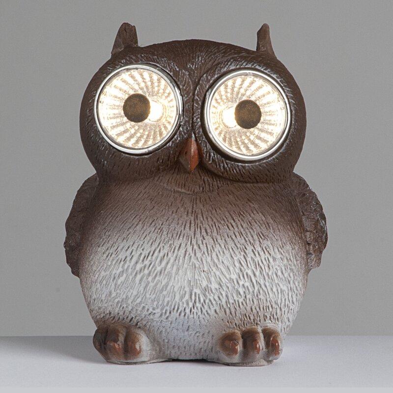 Owls With Solar Eyes Garden Décor Statue
