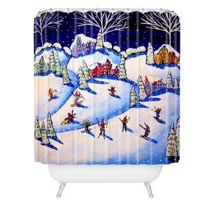 Renie Britenbucher Winter Skiing Fun Shower Curtain