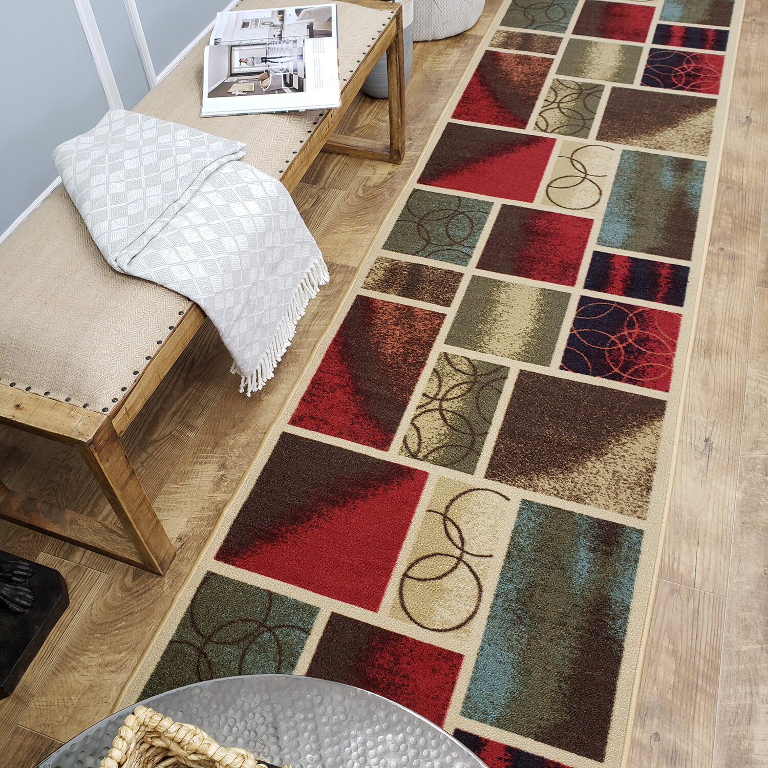 Andover Mills Beauchamp Square Red Green Area Rug Wayfair