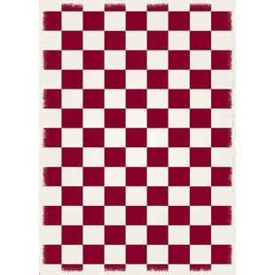 Adabahr Checker Red White Indoor Outdoor Area Rug