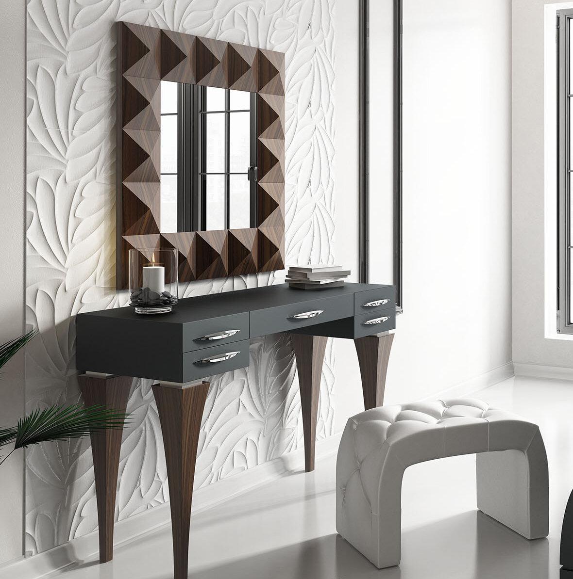 Brayden studio fallinerlea bedroom makeup vanity set with mirror wayfair