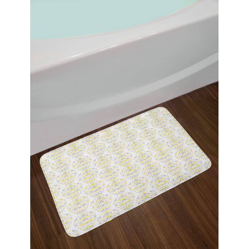 East Urban Home Victorian Grey And Yellow Bath Rug Wayfair