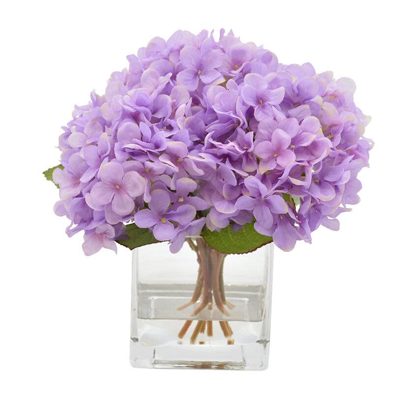 Ophelia & Co. Hydrangea Flower Arrangement in Decorative Vase | Wayfair