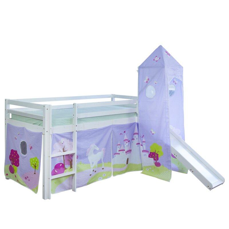 homestyle4u hochbett schloss mit rutsche vorhang und turm. Black Bedroom Furniture Sets. Home Design Ideas