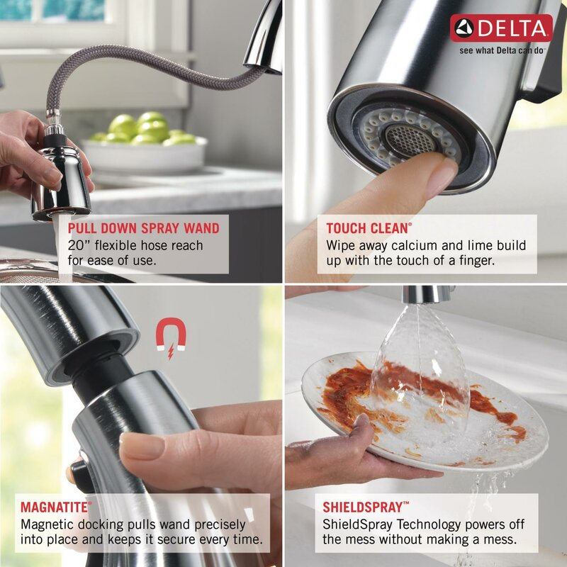 Esque Pull Down Touch Single Handle Kitchen Faucet With Diamond Seal  Technology