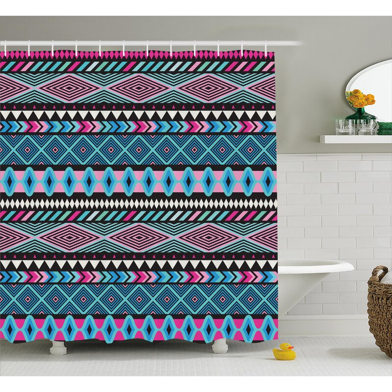 Kelli Tribal Vector Vintage Ethnic With Boho Stripes And Shape Image Print Shower Curtain