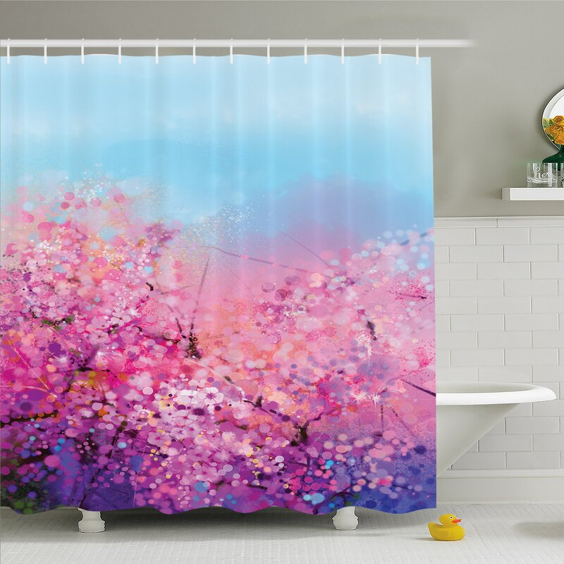 1884fa25ebdc Ambesonne Watercolor Flower Home Sakura Blossom Floral Beauty with Sky  Japanese Cherry Spring Theme Shower Curtain Set
