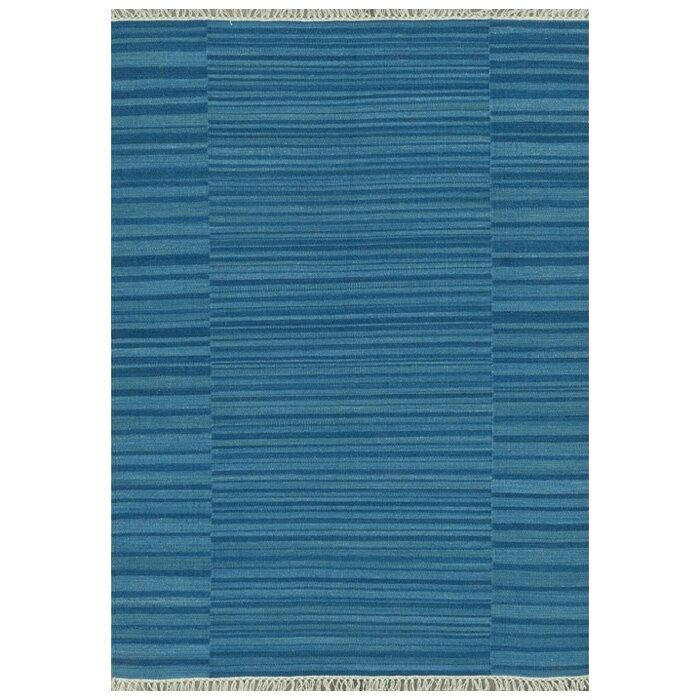 Beachcrest Home Tilly Flatweave Wool Blue Area Rug
