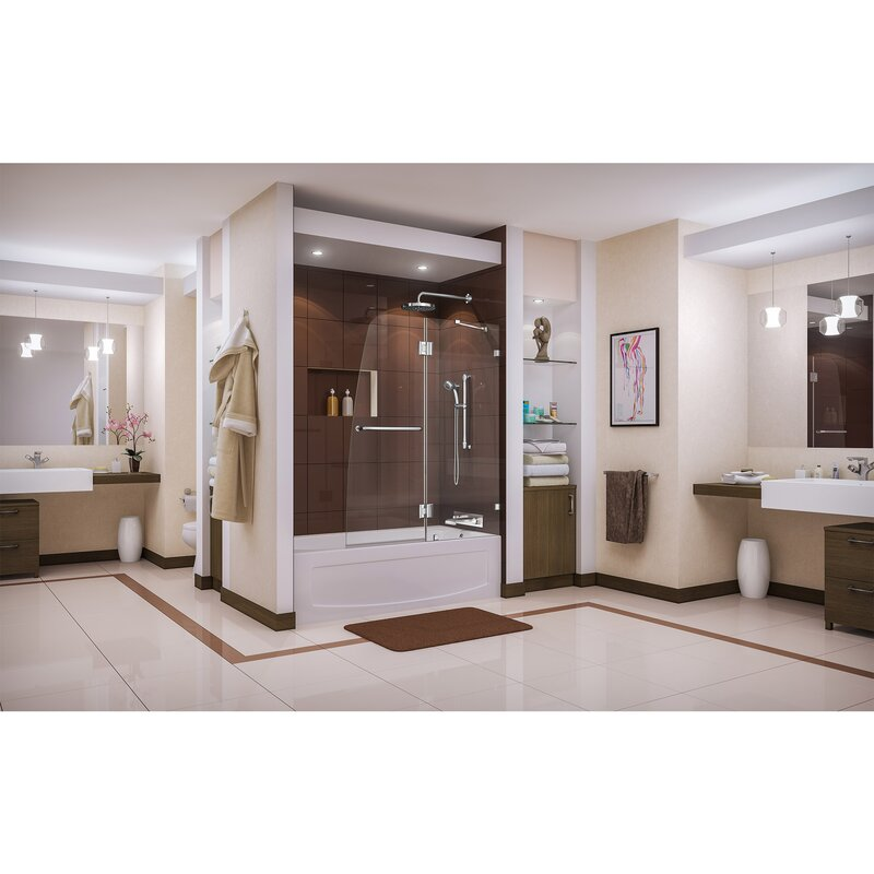 DreamLine Aqua Lux 48 X 58 Hinged Frameless Tub Door