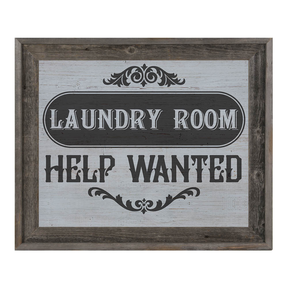 Laundry Room Help Wanted Framed Textual Art On Canvas In Grey Black Joss Main
