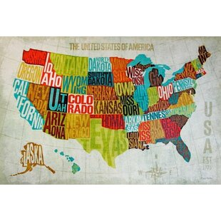United States Map With Compass Rose.World Map Wall Art