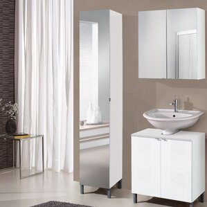 Tall bathroom cabinets for Mirrored free standing bathroom cabinet