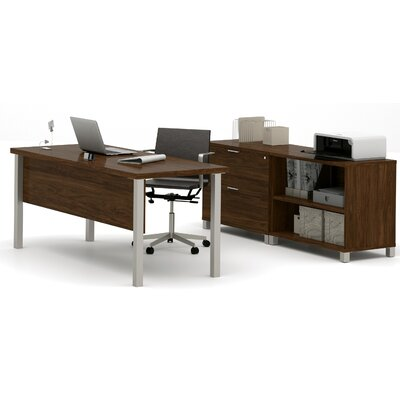 Wrought Studio Pham 3-Piece Desk Office Suite Color: Oak Barrel