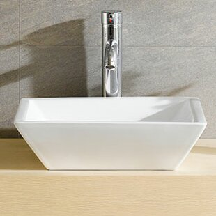 Modern Ceramic Square Vessel Bathroom Sink