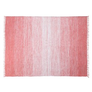 Ombre Fringe Cotton Hand-Woven Pink Area Rug