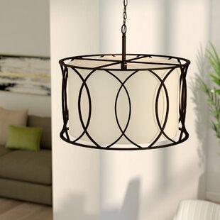 Linen pendant light wayfair tadwick 3 light drum pendant mozeypictures Gallery