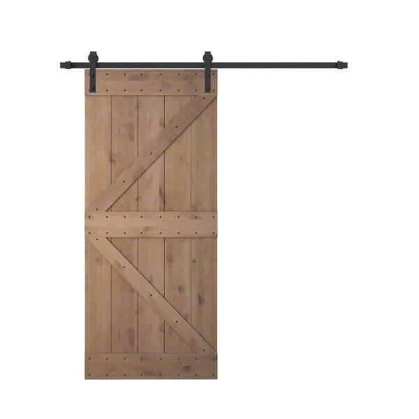 Calhome Knotty Solid Wood Panelled Alder Slab Interior Barn Door U0026 Reviews  | Wayfair