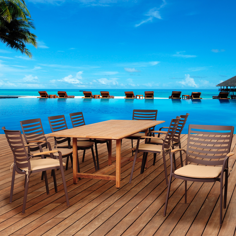 Beachcrest Home Elsmere 9 Piece Teak Dining Set with Cushions   Wayfair