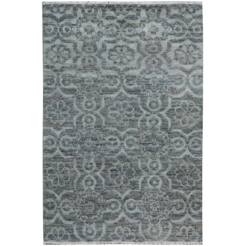Isabelline One Of A Kind Dorn Hand Knotted Wool Gray Area Rug Wayfair
