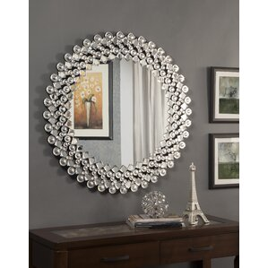 round crystal wall mirror