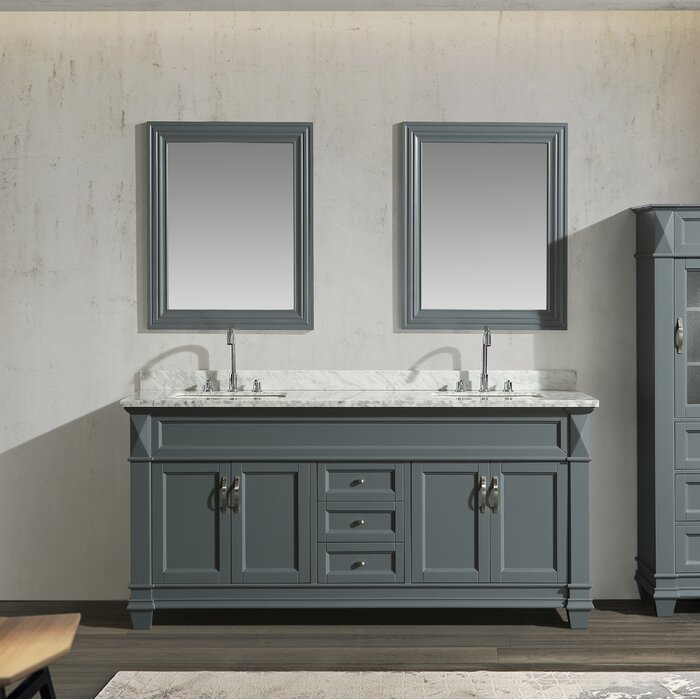 Hudson 60 Double Sink Vanity Set In Grey With Carrara Marble Top And 65 Linen Tower Cabinet