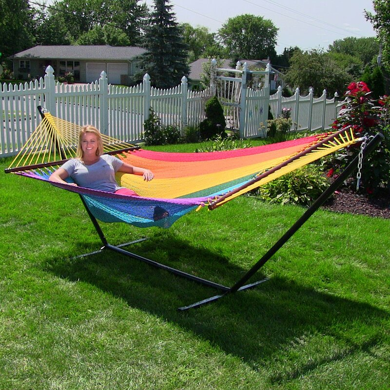 large 2 person rope hammock with stand sunnydaze decor large 2 person rope hammock with stand  u0026 reviews      rh   wayfair