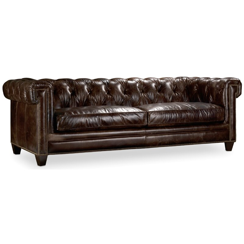 Hooker Furniture Imperial Regal Stationary Leather Chesterfield Sofa