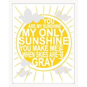 'You Are My Sunshine' Modern Yellow Sun Typography Paper Print