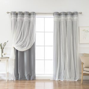 layla lace overlay thermal blackout energy efficient grommet curtain panel pair set of 2