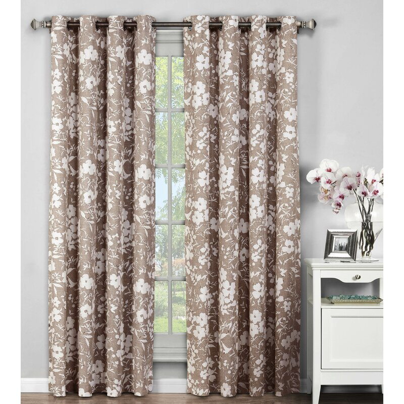 Window Elements Bohemian Nature Floral Sheer Grommet