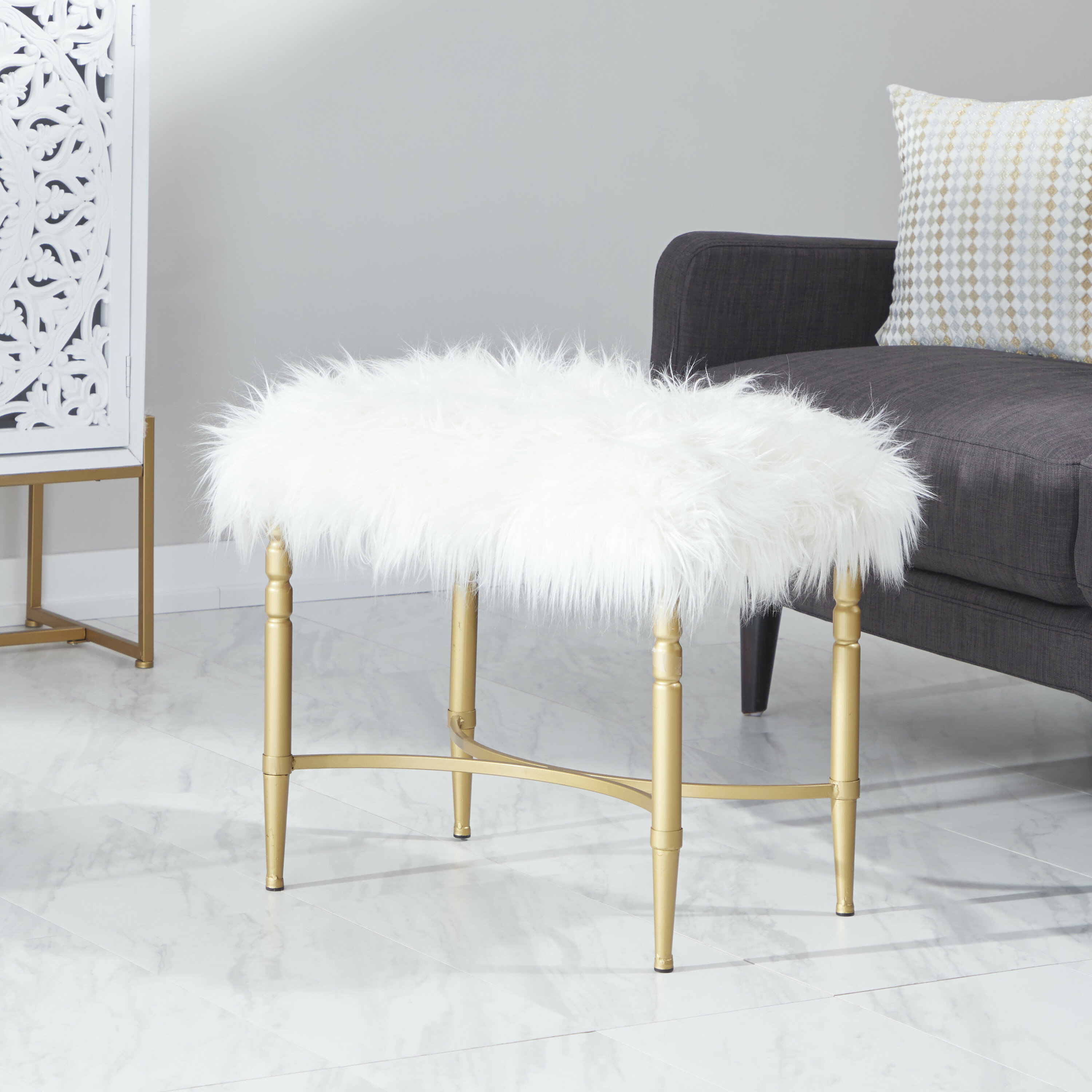 Peachy Askerby Metal Faux Fur Accent Stool Cjindustries Chair Design For Home Cjindustriesco