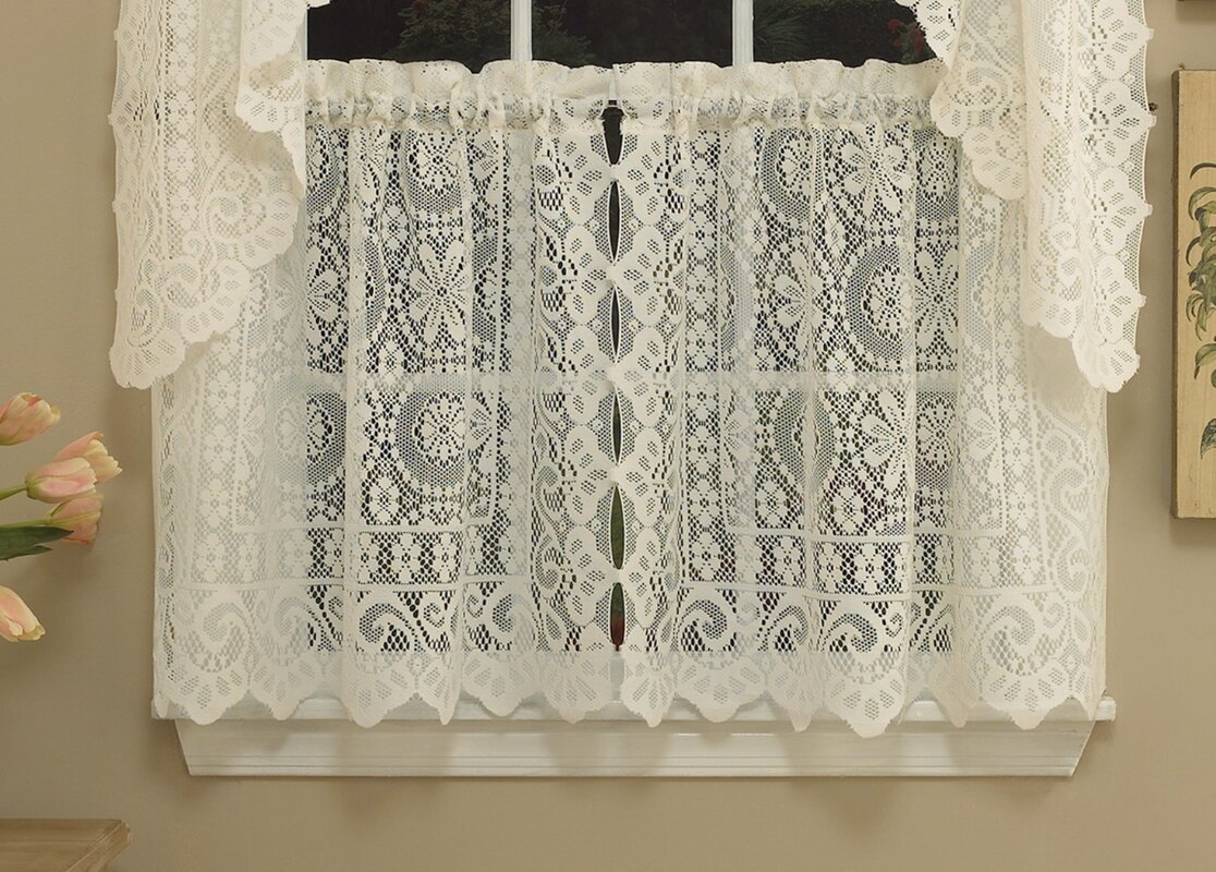 Sweet home collection old world style floral heavy lace for Old world window treatments