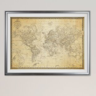 Maps framed art youll love wayfair vintage world map v graphic art print gumiabroncs Gallery