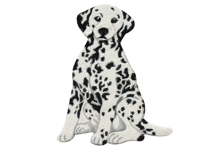 Zoomie Kids Hickory Dalmatian Dog Hand Woven Wool Black White Area Rug Wayfair