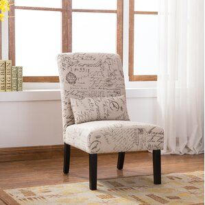 Pisano English Letter Print Fabric Armless Contemporary Slipper Chair by R..