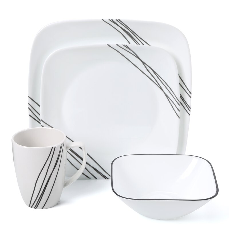 Corelle Simple Sketch 16 Piece Dinnerware Set, Service for 4 ...