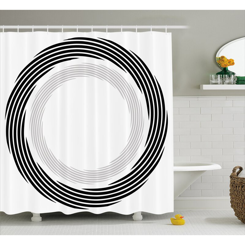 Black Abstract Art Theme White Shower Curtain