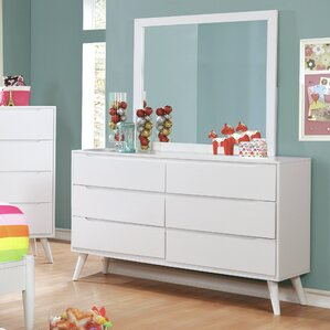 Polick Mid-Century Modern 6 Drawer Double Dresser with Mirror by Enitial Lab