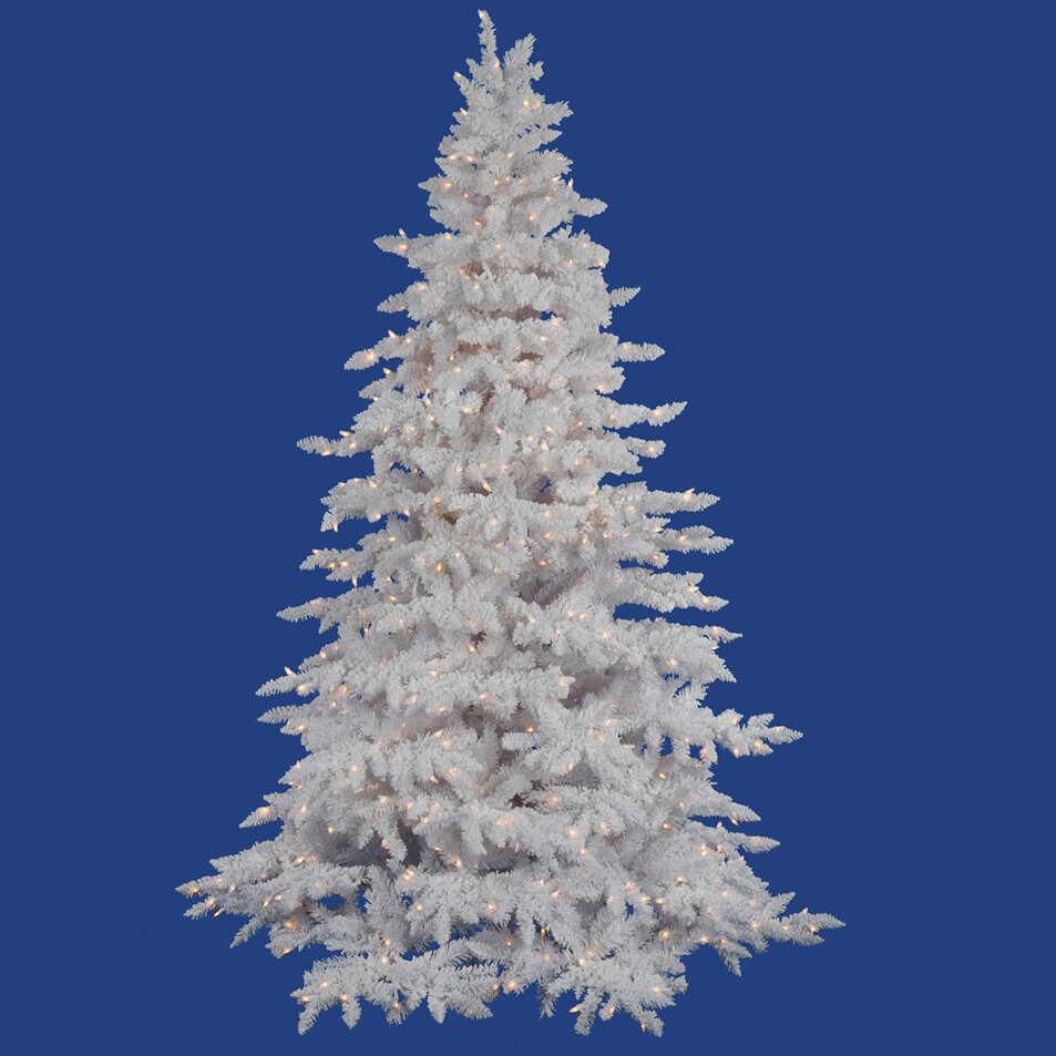 Vickerman Flocked 9 White Spruce Artificial Christmas Tree With 900